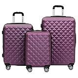 BEIBYE Kofferset 4 Zwillingsrollen Hartschale Trolley Koffer Reisekoffer Reisekofferset Gepäckset in 12 Farben (Lila)