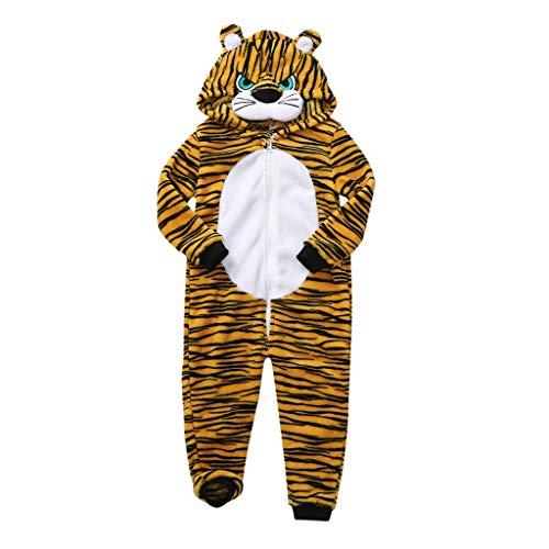 Kinder Jungen Mädchen Stereoscopic Animal Cartoon Tiger Hippopotamus Fleece Mit Kapuze Langarm Overall Spielanzug Pyjama Schlafanzüge Herbst Winter wuayi