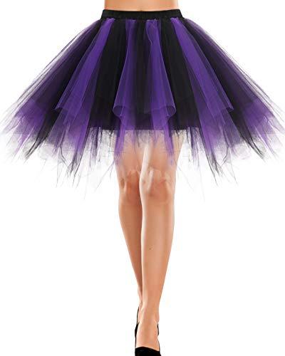 Bbonlinedress Tutu Tüllrock Crinoline Cosplay Rock Rockabilly Tanz Ballett Kostüme Karneval kostüm Damen Fastnacht Fasching Black Purple M
