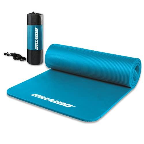 Premium Sportmatte und Fitnessmatte, perfekt als Yogamatte, Gymnastikmatte, Trainingsmatte - rutschfest, Extra-dick, Extra-lang - Schadstofffrei - 190 Länge x60 Breite x1,35 cm dicke - Cyan
