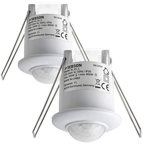 SEBSON 2X Detector de Movimiento Interior, Montaje Empotrado en Techo, programable, Sensor de Infrarrojos, 6m / 360°, LED Adecuado, Luces 800W / 200W
