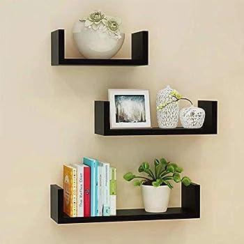 saqib ali wooden handicrafts S.A. Wooden Wall Rack Shelves Black Set of 3 Shelves (4 x 16 x 4, 4 x 12 x 4, 4 x 8 x 4 inches) MDF -Medium Density Fiber Home Decoration Wall Decor