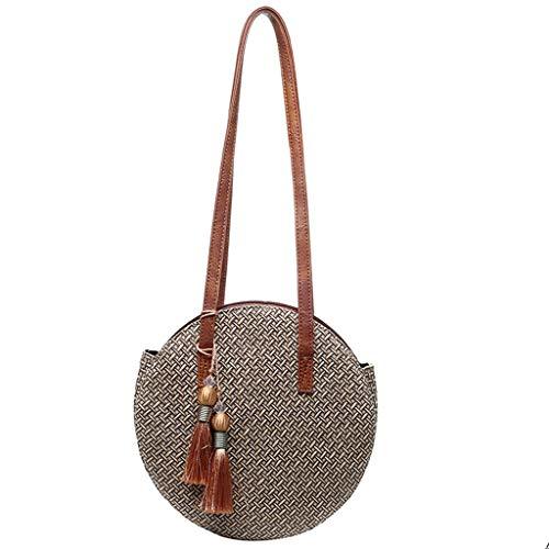 Runde Tasche aus Stroh mit Fransen, kaki (Beige) - ZZL0105970615-A43