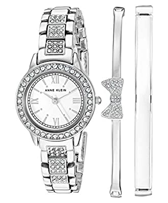 Anne Klein Women's Swarovski Crystal Accented Silver-Tone Bracelet Watch and Bangle Set, AK/3334WTST