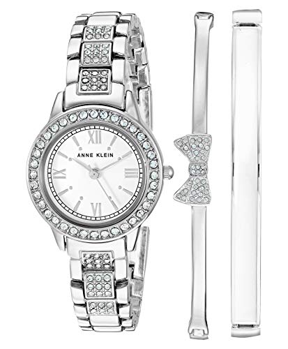 Anne Klein Women's Swarovski Crystal Accented Silver-Tone Bracelet Watch and Bangle Set, AK/3334WTST