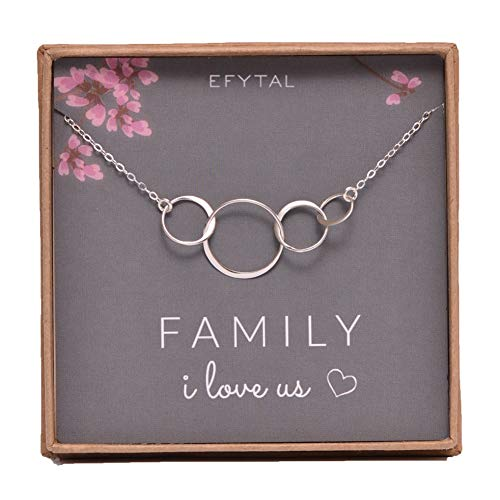 EFYTAL Sterling Silver Family of Four Circles I Love Us Necklace Mom, Dad 2 Kids Mothers Day Jewelry Gift 4 Wife