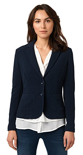 TOM TAILOR Damen Feminine Ottoman Blazer Strickjacke, Blau (Real Navy Blue 6593), 40 (Herstellergröße: L)