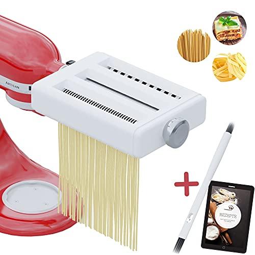 STERNEKOCH® Nudelaufsatz geeignet für Kitchenaid-Standmixer - Nudelaufsatz Set für perfekte Pasta wie beim Italiener - [inkl. GRATIS REINIGUNGSBÜRSTE UND REZEPTHEFT] - Ideales Kitchenaid Zubehör