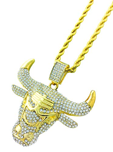 Exo Jewel CZ Diamond Bull Pendant Necklace with 24' Rope Chain
