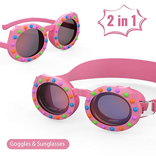 Aegend Kids Swim Goggles, 2 in 1 Polarized Swimming Goggles & Sunglasses for Age 4-16, Clear Vision, Soft Silicone, No Leak, UV Protection, Anti-Fog, Free Protection Case, Pink