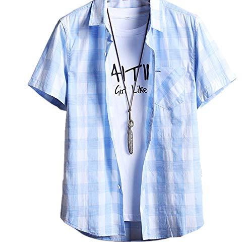 Preisvergleich Produktbild Kurzärmliges Hemd für Herren,  kariert,  dünner Stil Gr. XXL,  blau