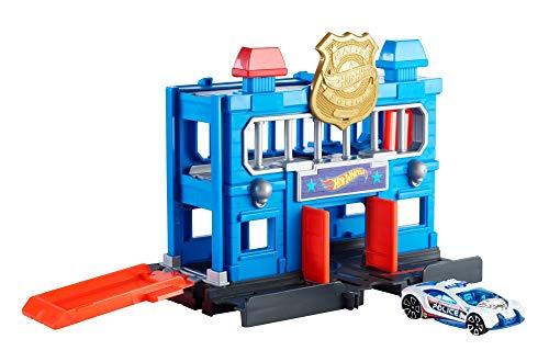 Mattel Hot Wheels-City Escape de la estación de policía, Pistas de Coches de Juguetes niños +4 años, Multicolor FNB00
