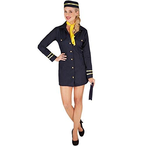 TecTake dressforfun Frauenkostüm Stewardess | Uniform inkl. Stewardessen-Hut und passendem Halstuch (XXL | Nr. 301413)