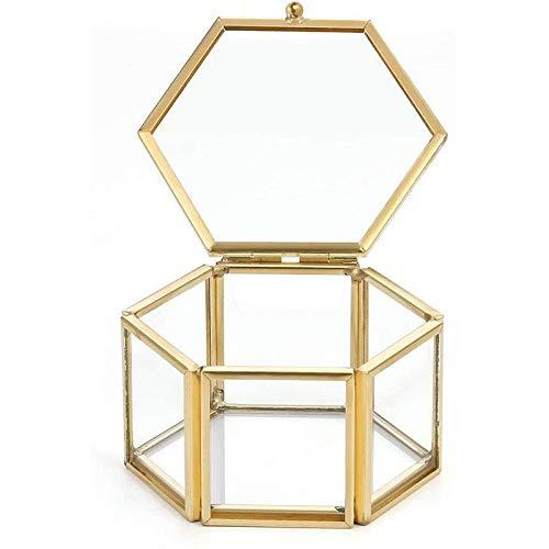 GUOXIANG Joyero de cristal transparente geométrico, organizador de joyas, bandeja de mesa, bandeja para plantas suculentas, almacenamiento de joyas, para anillos, pendientes y flores (dorado)