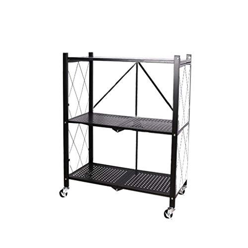 QAQA Folding Bookshelf, Metal Storage Shelves, Free Standing Shelf Organization, Wide Folding Metal Shelf with Caster Wheels for Garage Kitchen Home Closet Office, No Assemble Needed