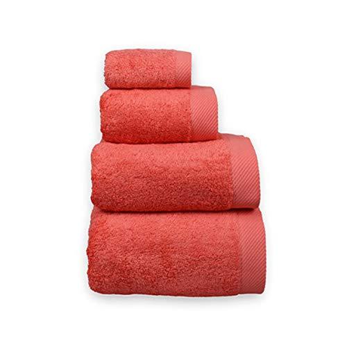 COTTONREUS Toalla Cottonplus 30% Bambú y 70% Algodón de 600 grms Color Coral. Muy absorvente y Suave. Medida Lavabo 50 x 100 cm.