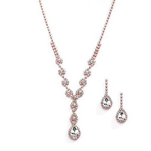 Mariell Sparkling Blush Rose Gold Crystal Rhinestone Necklace Earrings Set for Prom, Bridesmaid & Brides