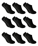 9 Pares Calcetines cortos Mujer hombre - calcetines tobillero unisex - calcetines hombre - calcetines mujer (40-46, Negro invisible)