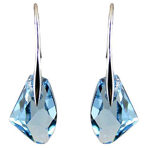 Impresionantes Pendientes de Plata Azul Aguamarina Hechos con Cristales de Swarovski.