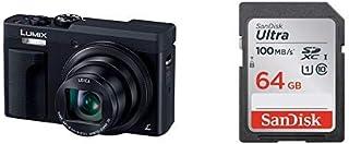 【SDカードセット】パナソニック コンパクトデジタルカメラ ルミックス TZ90 光学30倍 4K動画記録 ブラック DC-TZ90-K + SanDisk Ultra SDカード 64GB SDXC Class10 UHS-I SDSDUNR...