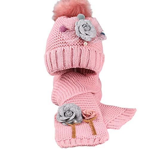 Boomly Bébé Filles Bonnet tricoté + Foulard Chapeau d'hiver bébé Foulards Bonnet Fleur Crochet Pom Pom Chapeaux Cache-Cou pour Les 3-12 Ans Enfant (Rose, 3-12 Ans)