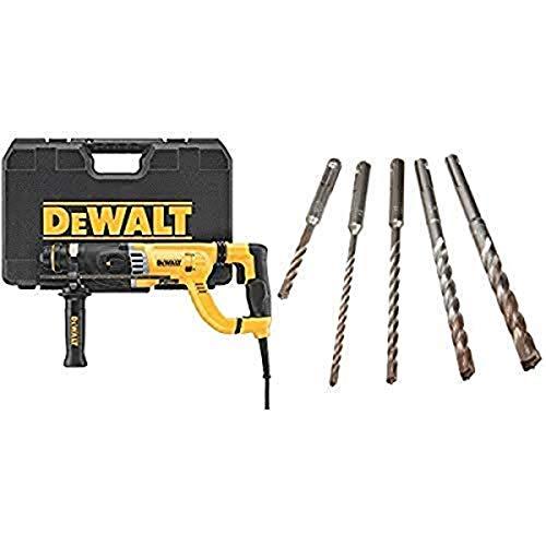 DEWALT D25263K D-Handle SDS Rotary Hammer with Shocks 1-1/8' with DEWALT DW5470 5-Piece Rock Carbide SDS Plus Hammer Bit Set