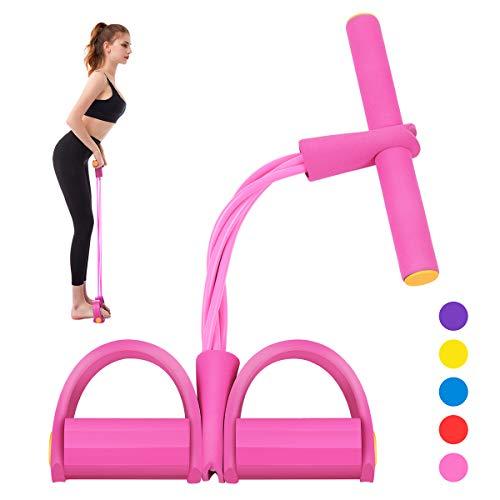 Segorts Pedal-Widerstandsband, super leicht, 4 Röhren, Yoga-Gurt, elastisches Zugseil, Fitnessgerät für Sit-up, Bodybuilding, Expander, Bauchtraining (Pink)