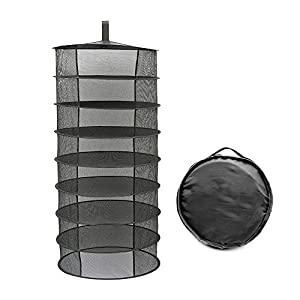 Herb Drying Rack, 8 Layer Hanging Plant Dryer Net, 2ft Black Collapsible Mesh Trays Without Zipper