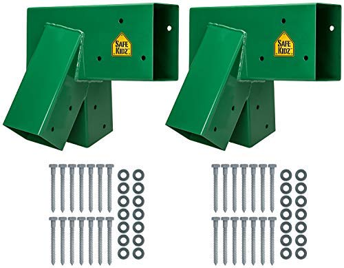Safe Kidz Wooden Swing Set Brackets :: Set of 2 Steel Swing Braces & Hardware & Instructions, Green