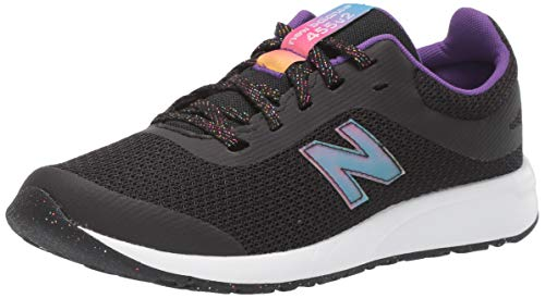 New Balance Girls' 455 V2 Running Shoe, Black/Rainbow, 4 M US Big Kid