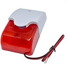 DC9 to 12V Wired Strobe Siren Red Light Sound Flash Buzzer Siren Home Security Alarm System Electric Security Siren 110dB@...