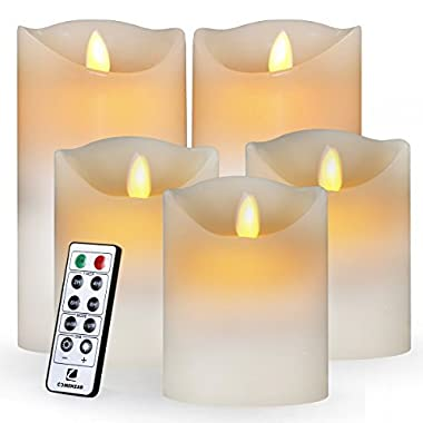 Flameless Candles,Led Candles Realistic Moving Set of 5(H4 4  4  6  6  xD3.25) Flickering Candles with Remote Timer(Batteries not included)