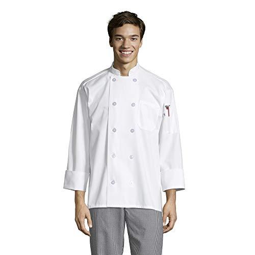 Uncommon Threads Unisex Classic 10 Button Chef Coat, White, Medium