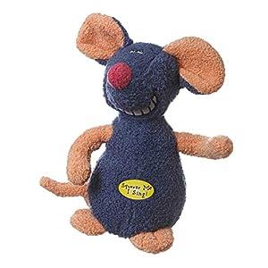 Multipet Deedle Dude 8-Inch Singing Mouse Plush Dog Toy, Blue