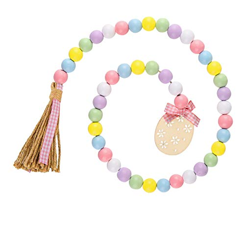 Tmflexe Wood Beads Garland Easter Day Tassel Garland Farmhouse Rustic Prayer Beads Boho Beads with Jute Rope Plaid Tiered Tray Decorations Wall Hanging Decor Wood Bunny DIY Eggs Tags (Egg)