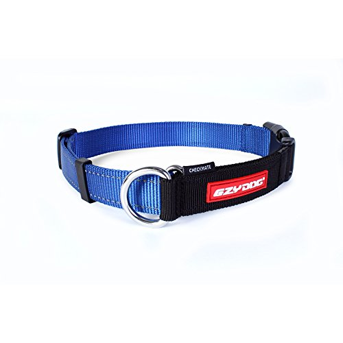 EzyDog Checkmate Martingale-Style Premium Nylon Safety Training and Correction Dog Collar - Quick-Clip Buckle and Reflective Stitching - Easy Control with no Choking Effect (Large, Blue)