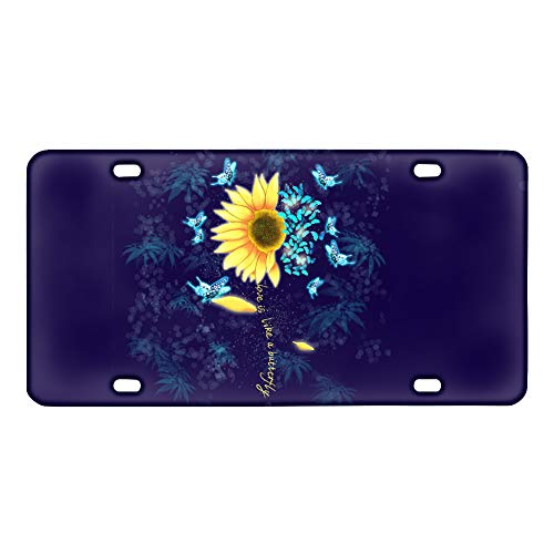 TOADDMOS Personalized Sunflower Butterfly Navy Background Decorative Car Front License Plate,Vanity Tag,Metal Car Plate,Aluminum License Plate,6 X 12 Inch