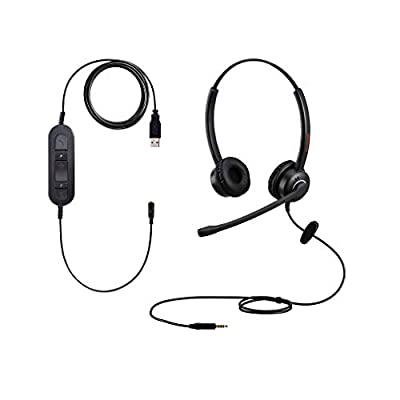 3.5mm USB Computer Headset PC Headphone With Microphone for Laptops Teams Skype Wired Two Ears Cell Phone Headset for Cellphones Mobiles Tablets Androids Blackberry Samsung iPhone Huawei iPad MacBook from Jiapinda