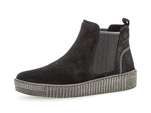 Gabor Damen Chelsea Boots 33.731, Frauen Stiefelette,Stiefel,Halbstiefel,Bootie,Schlupfstiefel,flach,schw./Grey(anthr.),42 EU / 8 UK