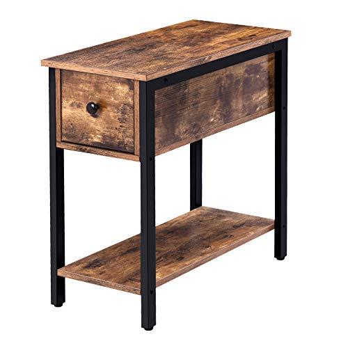 HOOBRO Beistelltisch, Nachttisch mit Schublade, Schmaler Sofatisch mit Ablage, Nachtschrank, Nachtkommode für Wohnzimmer, Schlafzimmer, Industrie-Design, stabil, Vintage EBF04BZ01