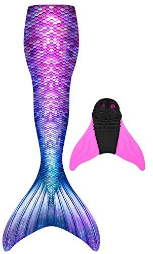 Meerjungfrauenschwanz zum Schwimmen mit Meerjungfrau Flosse Prinzessin Cosplay Badebekleidung 100-170cm Höhe, Geeignet für Mädchen und Erwachsene