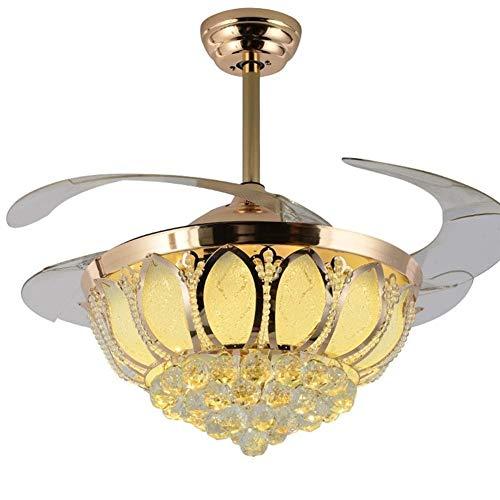 XUMINGDD zichtbare ventilator van Europeo met ophanging, verlichting, plafondventilator van kristalglas, led-ventilator met drie kleuren voor verduistering lamp met afstandsbediening