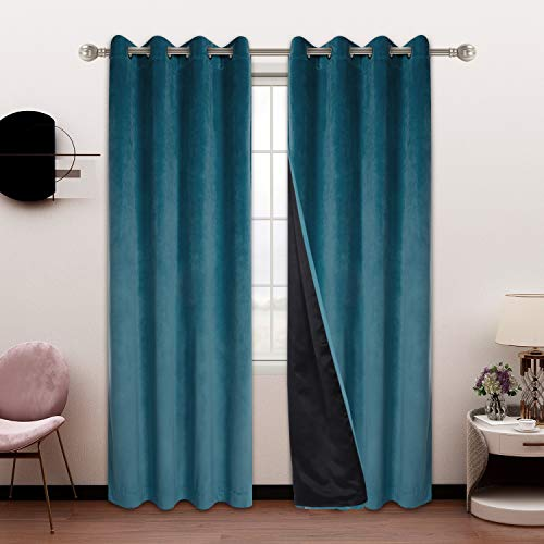 SHEEROOM 100% Blackout Velvet Curtains for Bedroom and Living Room, 52 x 72 inch Length, Light Blue - Thermal Insulated, Energy Saving, Sun Blocking Grommet Window Drapes, Set of 2 Curtain Panels