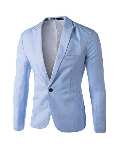 Blazer masculino de cor lisa com um botão Bestgift, Sky Blue, L