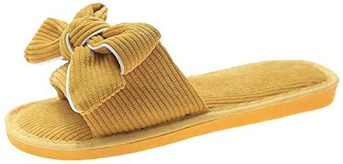 ZSW Moda Primavera Otoño Interior Mujer Zapatillas Mariposa Nudo Pana Hogar Antideslizante Zapatos Planos para Mujer Sala de Estar Mujer Zapatillas (Color: Amarillo Tamaño: 41)- 41_Amarillo