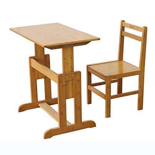 Mobilier Table d'étude et Chaise en Bambou Naturel relevables Bureau d'enfant Stand Correction de Structure siège, Assemblage (Color : Wood, Size : 72 * 65 * 40cm)