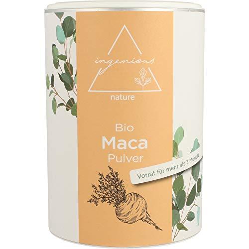 ingenious nature® Laborgeprüftes Bio Maca Pulver 500g - von der schwarzen Maca Wurzel - 100{3f321613ef090258650363e8234935ceb5aa6f62968062f766fb43d7f00b1acc} rein, ohne Zusätze, roh, aus Peru. Angebaut auf über 4400m. Vorrat für 100 Tage.