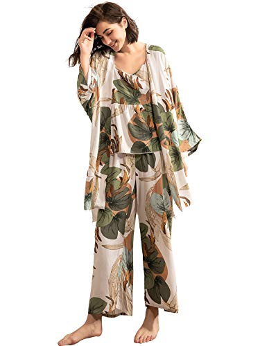 WDIRARA Women's Sleepwear 3 pcs Leaf Print Cami and Pants Pajama Set with Robe M