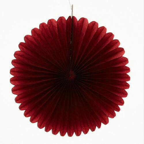 Sorive 5pcs 16 Tissue Paper Fan Party Hanging Fan Flower Wedding Birthday Showers Party Baby Shower Decorations (16 Inch, Burgundy)