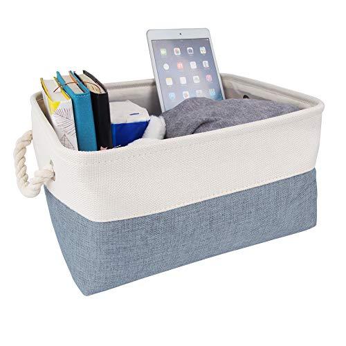 Mangata Caja de Almacenamiento Ropa, cestas de almacenaje Tela, Plegable Cajas organizadoras para Juguetes, armarios (Medio, frío Azul Gris/Blanco)